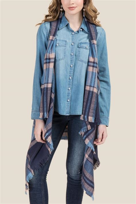 Leila Plaid leila plaid ruana vest s
