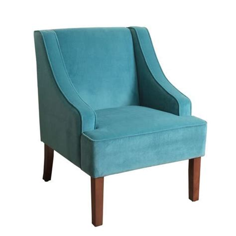 Teal Accent Chairs In Living Room Homepop Swoop Arm Accent Chair In Teal Turquoise Velvet