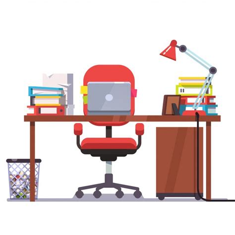 home or office desk with laptop computer vector free