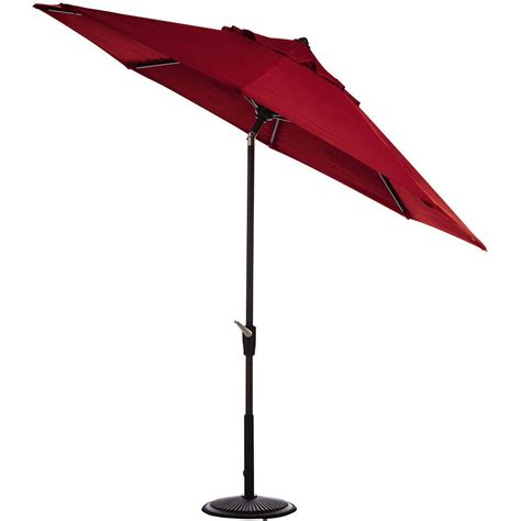 11 Ft Led Round Offset Patio Umbrella In Red Yjaf052 Home Depot Patio Umbrella