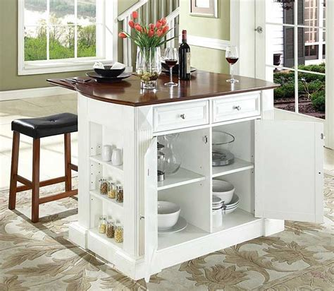 movable kitchen island with breakfast bar in white finish home interior exterior