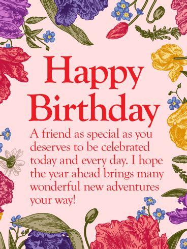 special friend happy birthday wishes card birthday greeting cards  davia