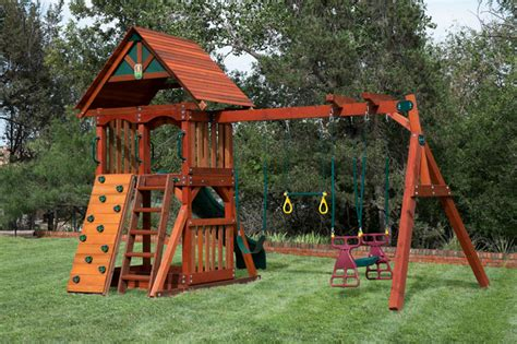 Small Backyard Swing Set by Pre Assembled Backyard Wooden Swingsets 20