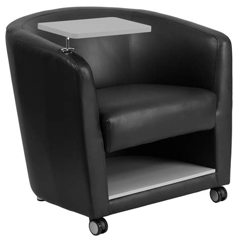 seating with storage underneath black leather guest chair with tablet arm front wheel