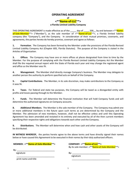 llc operating agreement template pdf florida llc operating agreement