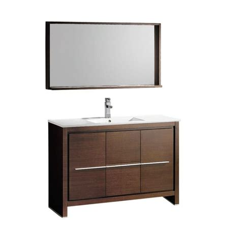 48 Bathroom Mirror by Fresca Allier 48 Inch W Vanity In Wenge Brown Finish With