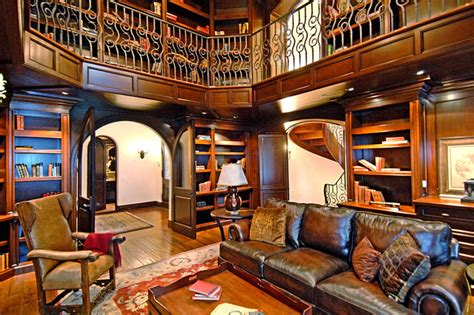 decorating luxury custom home library design with leather