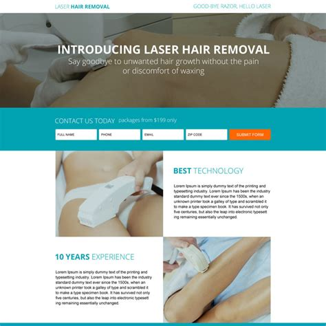 responsive hair removal service landing page design
