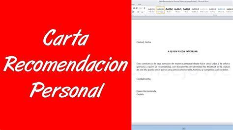 como hacer una carta como hacer una carta de recomendacion personal en word
