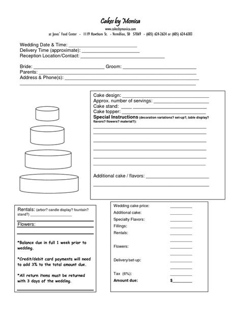 cake order form doc cakepins com cake decorating tip and