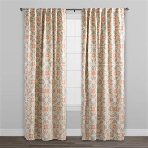 cotton tab curtains orange tile cotton concealed tab top curtains set of 2