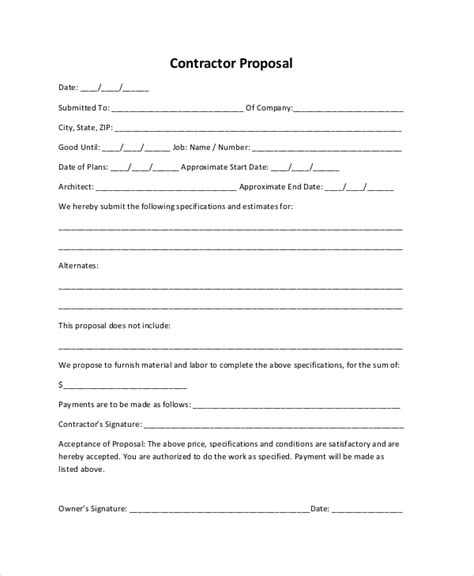 Sle Construction Proposal Forms 7 Free Documents In Pdf Doc Docs Construction Estimate Template