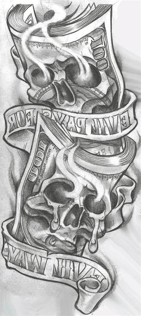 skull and money tattoos poker chip tattoo design on arm