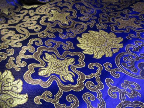 chinese pattern fabric uk chinese satin brocade in cobalt blue and gold 1 yd of