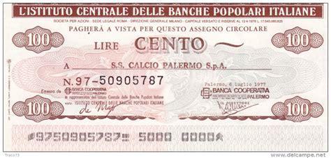 istituto centrale delle banche popolari popolo assegno circolare fino a lire 1 000