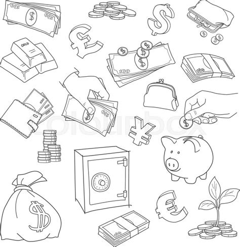 doodle money set of doodle money symbol vector sketch coins stack