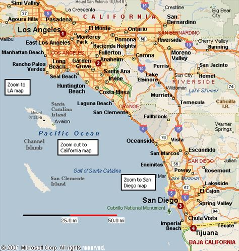 a map of southern california california map of southern california california