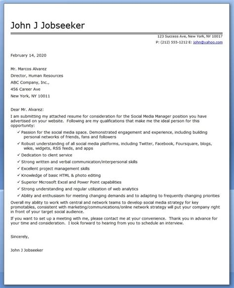 Cover Letter For In Media Social Media Manager Cover Letter Sle Resume Downloads