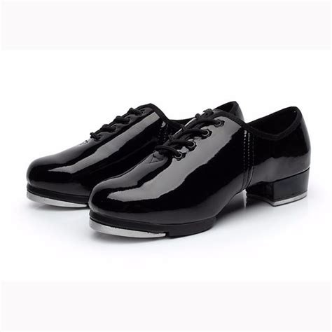 tap shoes shiny patent pu leather laced