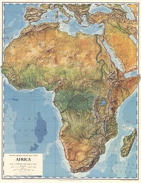 physical maps of africa africa physical map 1958 size