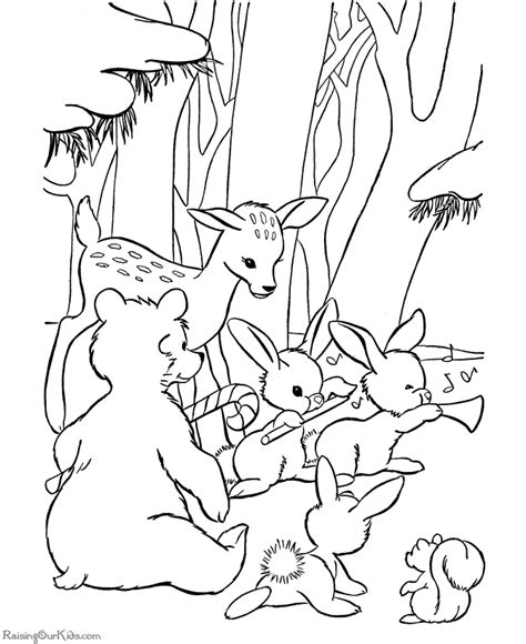 animal christmas coloring pages