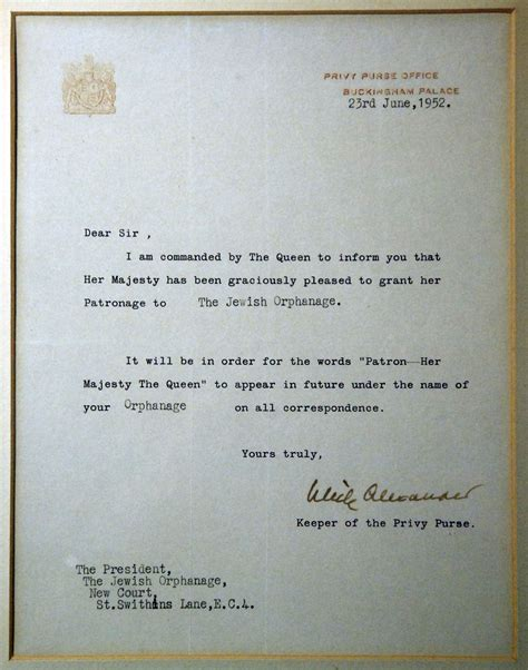 charity patron letter 200 years of royal patronage