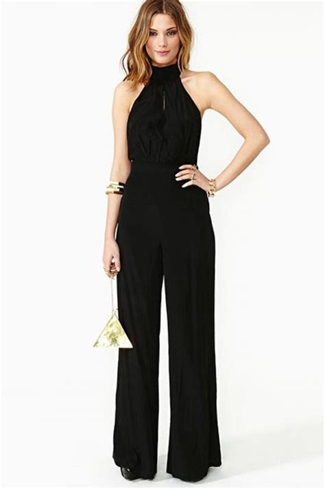 shop bianca spender chandelier jumpsuit in black at nasty gal bianca halter jumpsuit in black lyst