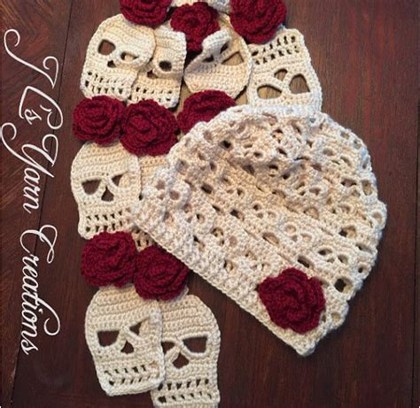 knitting pattern skull scarf isn t this sugar skull crocheted hat and scarf set