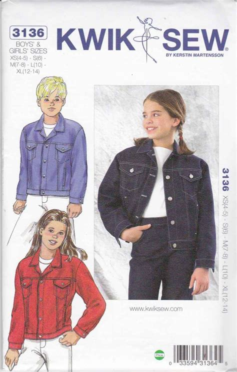 pattern for blue jean jacket kwik sew sewing pattern 3136 k3136 boys and girls sizes xs