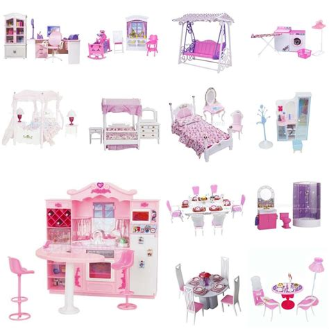 barbie doll house furniture sets luxury plastic furniture play set for barbie dolls house kitchen bathroom etc ebay