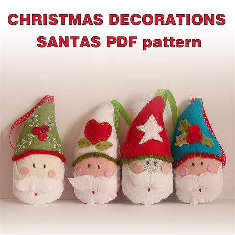 pattern felt christmas ornaments pdf pattern felt christmas ornaments santas by roxycreations