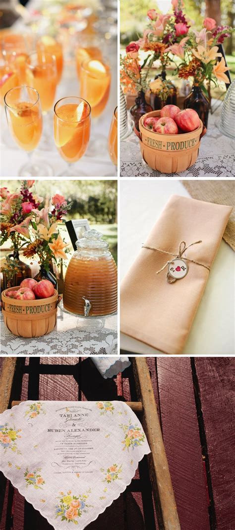 outdoor country western themed wedding signature drinks rustic centerpieces