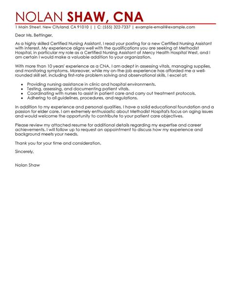 Mental Health Nursing Assistant Cover Letter by Best Nursing Aide And Assistant Cover Letter Exles Livecareer