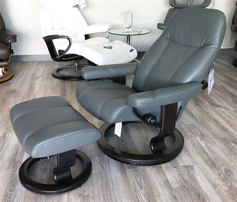 Recliners And Ottomans by Stressless Consul Recliner Chair And Ottoman Batick Grey