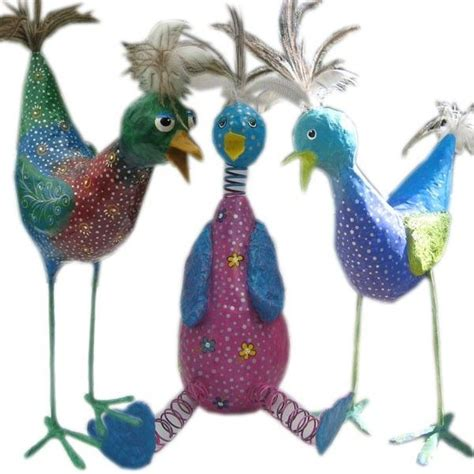 Make Paper Mache Birds - how to make whimsical paper mache birds