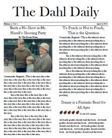 newspaper article review template danny the chion of the world novel unit