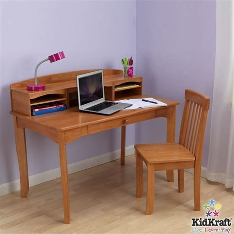 Kid Desk With Hutch Kidkraft Avalon Desk With Hutch And Chair In Honey Set 26706