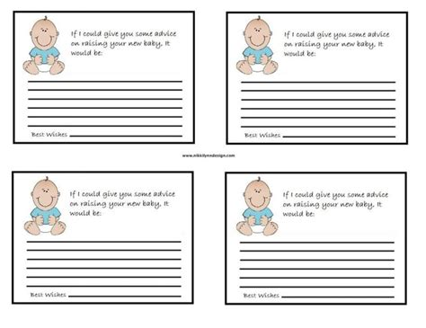 template for baby shower advice cards free baby advice cards template entertaining pinterest