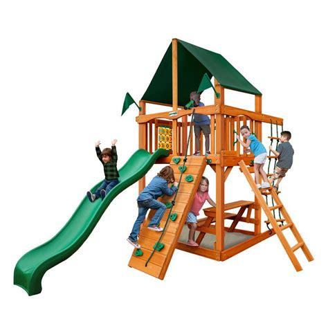 playset swing gorilla playsets chateau tower with amber posts and