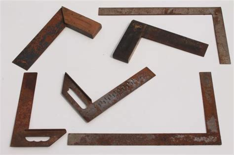 industrial woodworking tools industrial vintage wood steel squares lot of 6