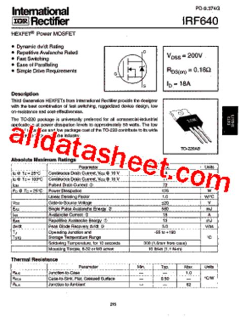 Irf 640n Mosfet Irf 640 irf640 datasheet pdf international rectifier