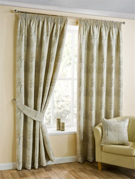 beige lined curtains embroidered tree beige gold lined pencil pleat curtains