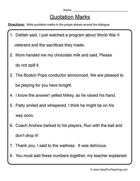 5th grade 187 quotation marks worksheets 5th grade