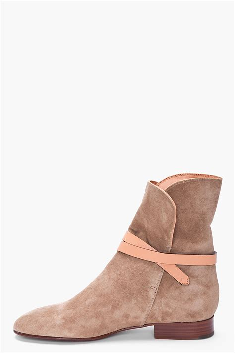 taupe color boots chlo 233 taupe suede ankle boots in brown lyst