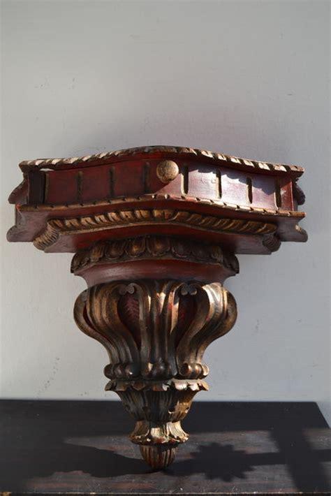 Shelf Traduction large polychrome carved wood corner sconce corbel shelf ca 1900 catawiki