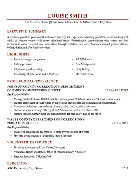 probation officer resume exle corrections supervisor