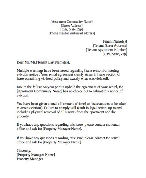 how to write a response letter an eviction notice