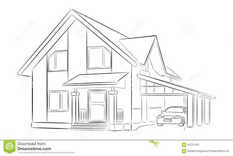 sketch a house sketch of a house stock illustration image of
