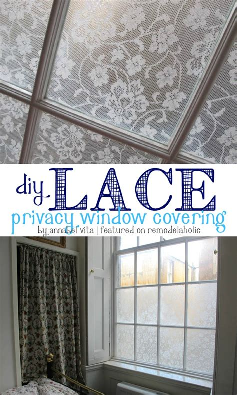 Privacy Cover For Windows Ideas Remodelaholic Diy Lace Privacy Window Covering