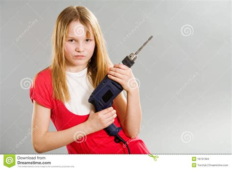 little girls little girl holding electric drill stock images image